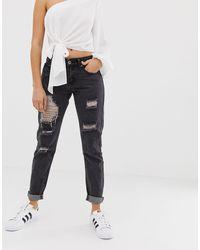 Jeans boyfriend skinny invecchiati di Liquor N Poker in Black