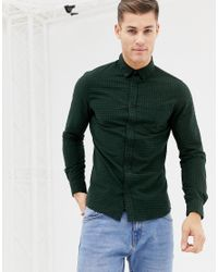 New Look Regular Fit Shirt In Green Check for men