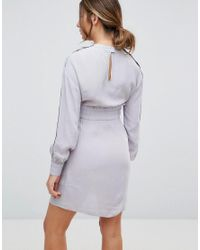 ASOS - Gray Nursing Tie Waist Mini Dress With Popper Detail - Lyst