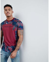 Armani Exchange Slim Fit Palm Edging T-shirt In Red for men