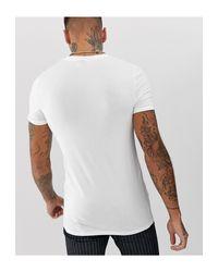 T-shirt ras du cou moulant à manches retroussées ASOS pour homme en coloris White