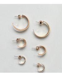 86964d36298a2 Monki Multi Size Hoop Earring 3 Pack In Gold in Metallic - Lyst