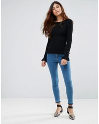 Miss Selfridge Black Frill Hem Top