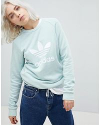 7b56676d541b adidas Originals. Women s Green Adicolor Trefoil Oversized Sweatshirt ...