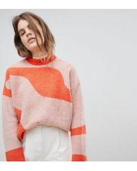 Weekday Red Jacquard Knit Sweater