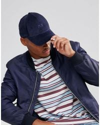 ASOS Blue Baseball Cap In Navy Cord With Ny Embroidery for men