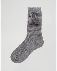Oasis Gray Pom Pom Slipper Socks