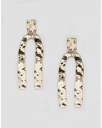 Monki | Metallic Hammered Horse Shoe Earrings | Lyst
