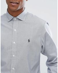 Polo Ralph Lauren - Micro Stripe Shirt Slim Fit In Black for Men - Lyst