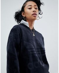 Adidas Originals - Velour Oversized Sweatshirt In Black - Lyst