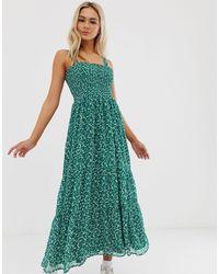 Vestito lungo arricciato verde a fiori di Pimkie in Green