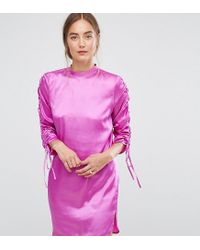 ASOS Pink Mini Shift Dress With Tie Detail Sleeves