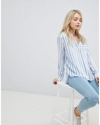 ONLY - Blue Stripe Shirt - Lyst