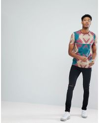 ASOS - Red Design Tall T-shirt With Aztec Print for Men - Lyst