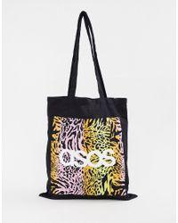 ASOS Blue Tote Bag In Animal Print