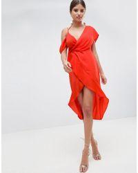 99396ce90e Lyst - ASOS Sexy Satin Asymmetric Drape Midi Pencil Dress in Red