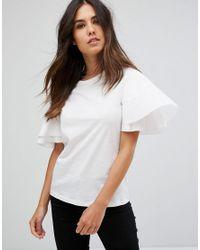 Vero Moda - White Ruffle Sleeve Top - Lyst