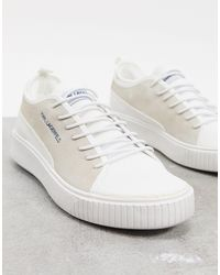Karl Lagerfeld White Suede And Mesh Sneakers for men