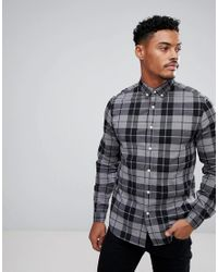 ASOS Gray Stretch Slim Check Shirt In Grey for men