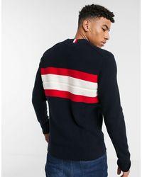 Tommy Hilfiger Blue Ribbed Chest Stripe Knit Jumper for men
