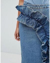 Lost Ink - Blue Denim Pencil Skirt With Exaggerated Frill - Lyst