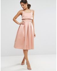 9686e960b358d Asos Crop Top Prom Dress With Button Detail in Pink - Lyst