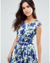 Louche Blue Julita Belted Skater Dress