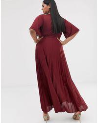 Vestido plisado estilo kimono ASOS de color Red