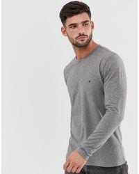 Серая Облегающая Футболка С Длинными Рукавами И Логотипом -серый Tommy Hilfiger для него, цвет: Gray