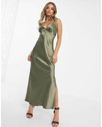 S- Vestito sottoveste midi con spalline sottili e taglio di ASOS in Green