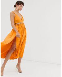 Vestito midi morbido con cut-out e gonna con spacco di ASOS in Orange
