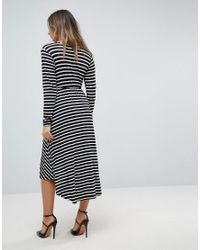 Bluebelle Maternity - Multicolor Nursing Long Sleeved Wrap Front Midi Dress - Lyst