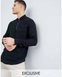 Camicia slim nera di lino con mezza zip di Noak in Black da Uomo