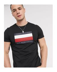 Tommy Hilfiger Black Corp Icon Stripe Box Print T-shirt for men