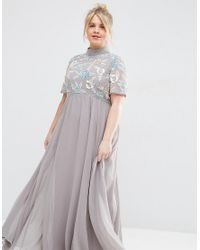 ASOS Gray High Neck Embellished Maxi Dress
