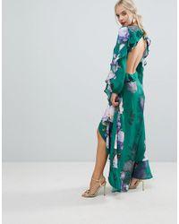 ASOS - Ruffle Maxi Dress In Green Floral Print - Lyst