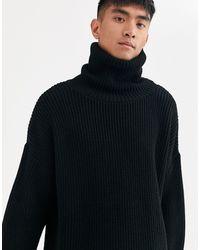 Jersey extragrande con cuello alto en negro ASOS de hombre de color Multicolor