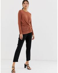 Y.A.S Brown Gathered Long Sleeved Top-beige