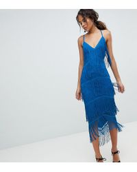 ASOS Blue Asos Design Tall Fringe & Lace Plunge Bodycon Midi Dress