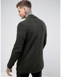 ASOS - Green Mesh Waterfall Cardigan In Khaki for Men - Lyst