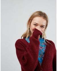 Monki - Red Longline Cardigan - Lyst