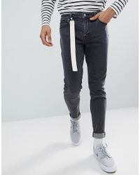 ASOS Asos Skinny Jeans In Washed Black With Strap Detail for men