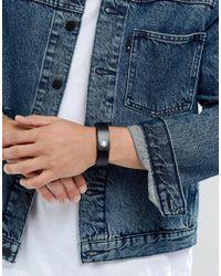 DIESEL | A-great Leather Cuff Bracelet In Black for Men | Lyst