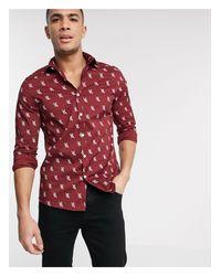 ASOS Red Slim Fit Stretch Shirt for men