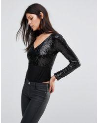 Club L Black Deep V Sequin Long Sleeve Body With Detachable Choker