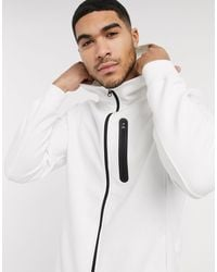 Pull&Bear White Zip-thru Hoodie With Contrast Trim for men