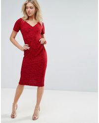 Vesper Red Short Sleeve Midi Dress