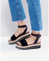Sixtyseven - Black Flatform Espadrille Suede Leather Sandal - Lyst