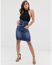 Gonna di jeans a vita alta stile corsetto di Miss Sixty in Blue