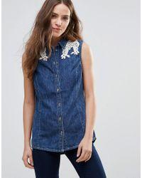 Vero Moda Blue Embroidered Lace Shoulder Denim Shirt
